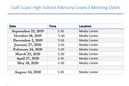 2019 2020 Meeting Dates and Times