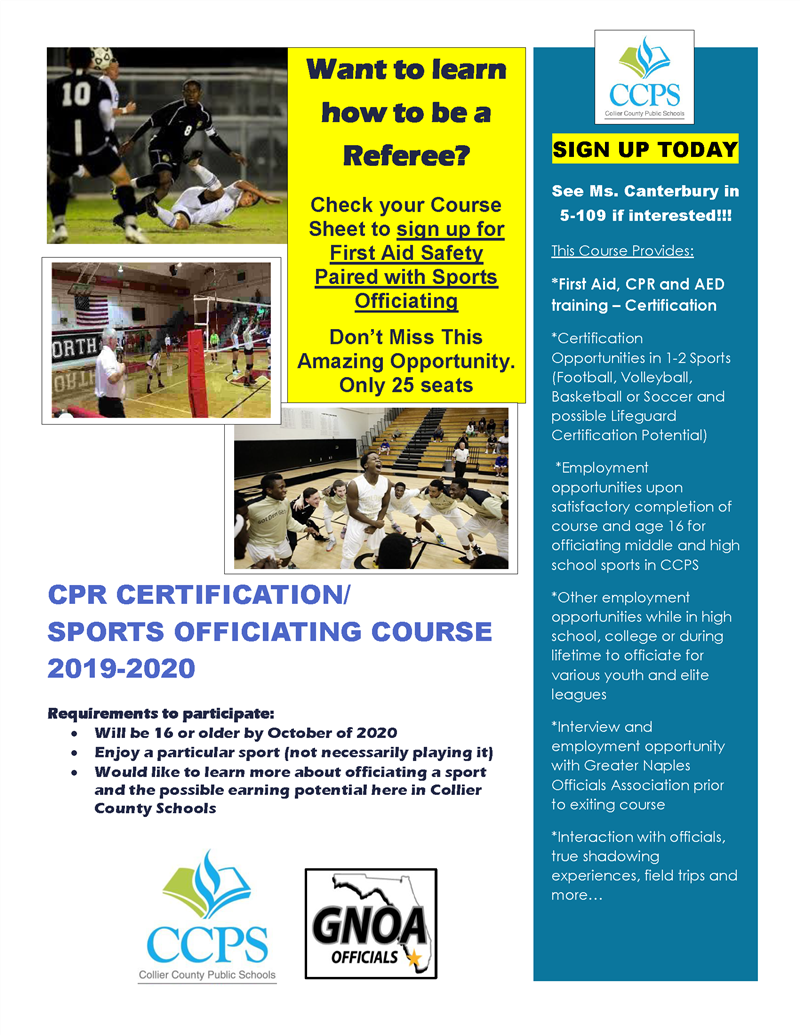 CPR CERTIFICATION/ SPORTS OFFICIATING COURSE 2019-2020