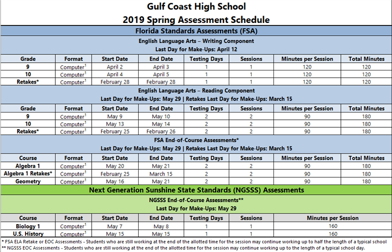 GCH State Assessment Schedule