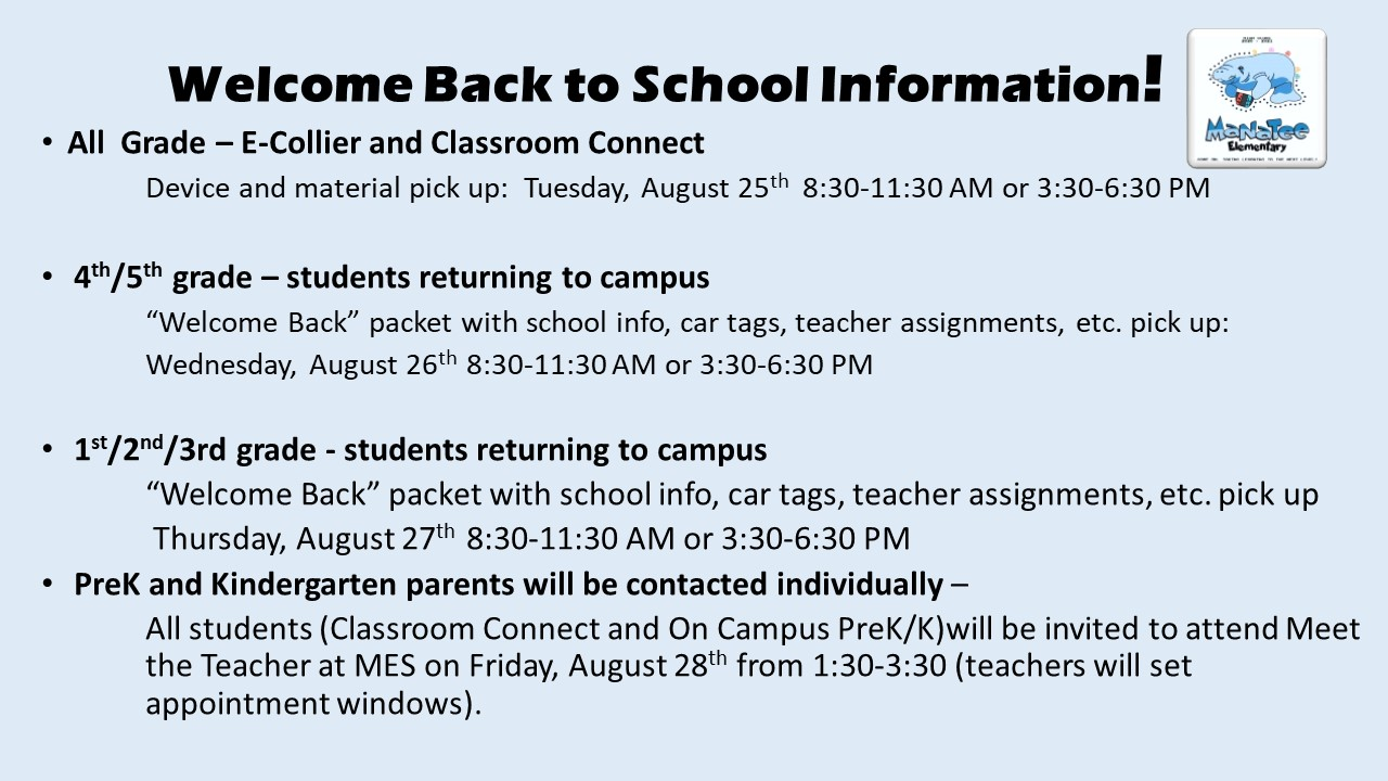 Welcome Back to School Device Pick up Schedule